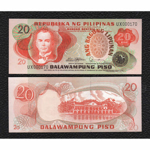 Philippines P-162c  ND (1974-85) Sign 10  20 Piso - Crisp Uncirculated