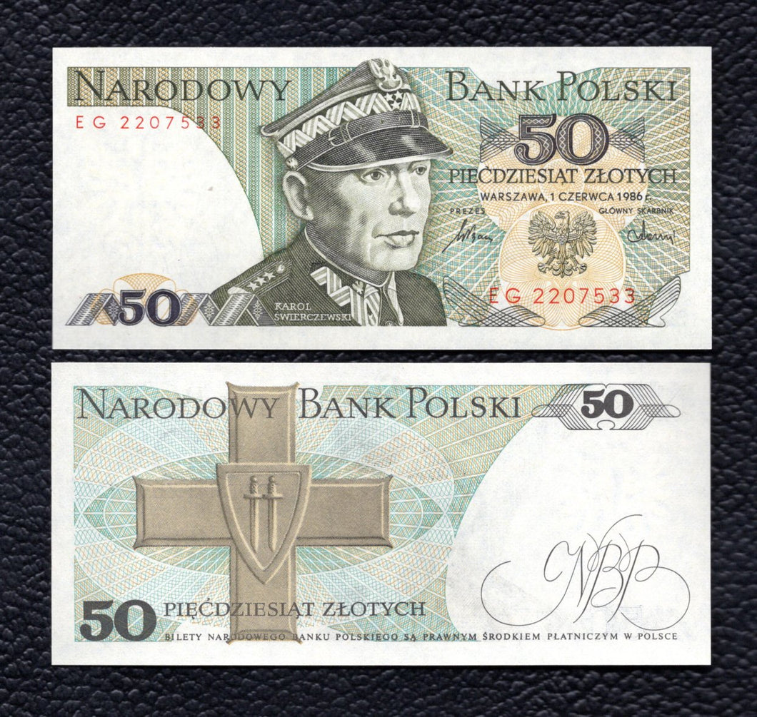 Poland P-142c  1.2.1988  50 Zlotych - Crisp Uncirculated