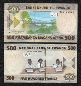 Rwanda P-NEW 1.2.2019 500 Francs- Crisp Uncirculated