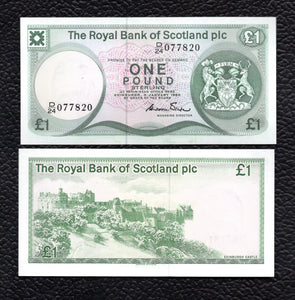 Scotland P-341b  3.1.1985 Royal Bank of Scotland  1 Pound - Crisp Uncirculated