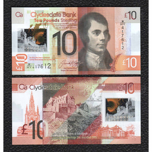 Scotland, Clydesdale Bank  P-New 2017 Polymer Plastic   10 Pounds - Crisp Uncirculated