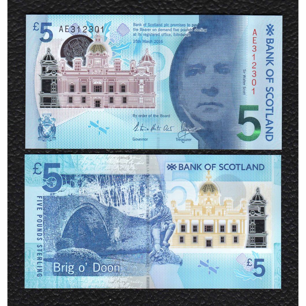 Scotland P-NEW  2016 Bank of Scotland  Polymer Plastic   5 Pounds - Crisp Uncirculated