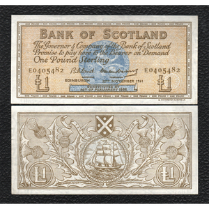 Scotland   P-102a   22.11.1961 Bank of Scotland 1 Pound - Grades Very Fine+