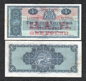 Scotland P-166a  31.3.1962  British Linen Bank  1 Pound - Grades Very Fine, w/Light Stain!