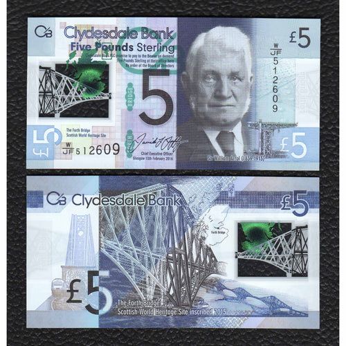 Scotland  P-New 13.2.2016  Clydesdale Bank Polymer Plastic 5 Pounds - Crisp Uncirculated