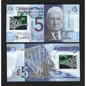 Scotland P-NEW 13.2.2015 Clydesdale Bank,  Polymer Plastic 5 Pounds - Crisp Uncirculated