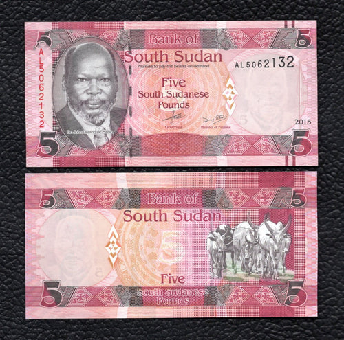 South Sudan P-6  2015  5 Pounds - Crisp Uncirculated