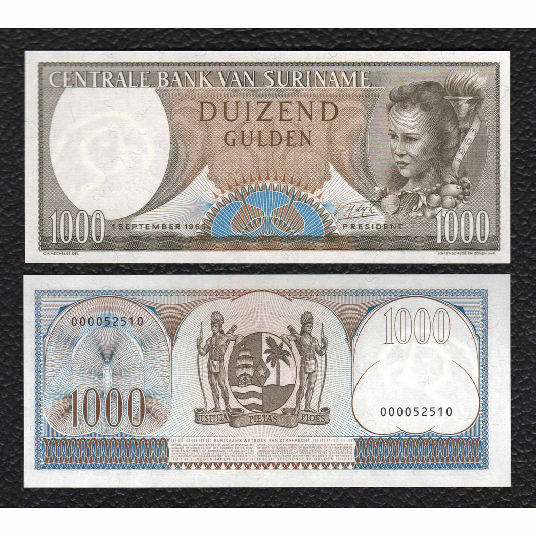 Suriname P-124  1.9.1963 1000 Gulden - Crisp Uncirculated