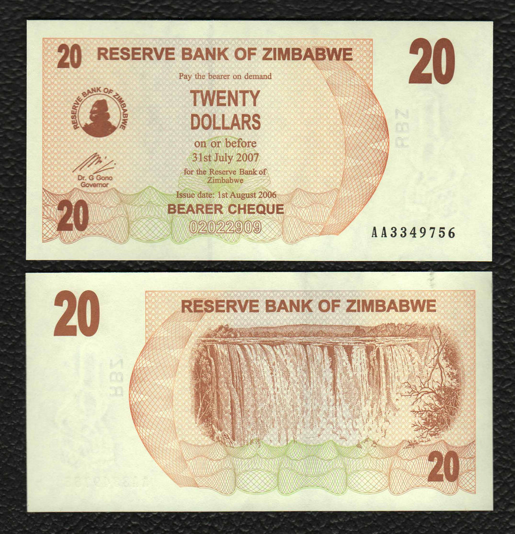 Zimbabwe P-40 1.8.2006  20 Dollars - Crisp Uncirculated