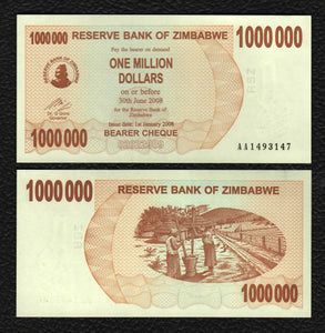Zimbabwe P-53  1.1.2008  1000,000 Dollars - Crisp Uncirculated