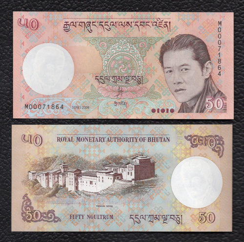Bhutan P-31a  2008 50 Ngultrum - Crisp  Uncirculated