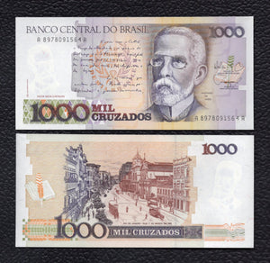 Brazil P-213b ND(1988) 1000 Cruzados - Crisp Uncirculated