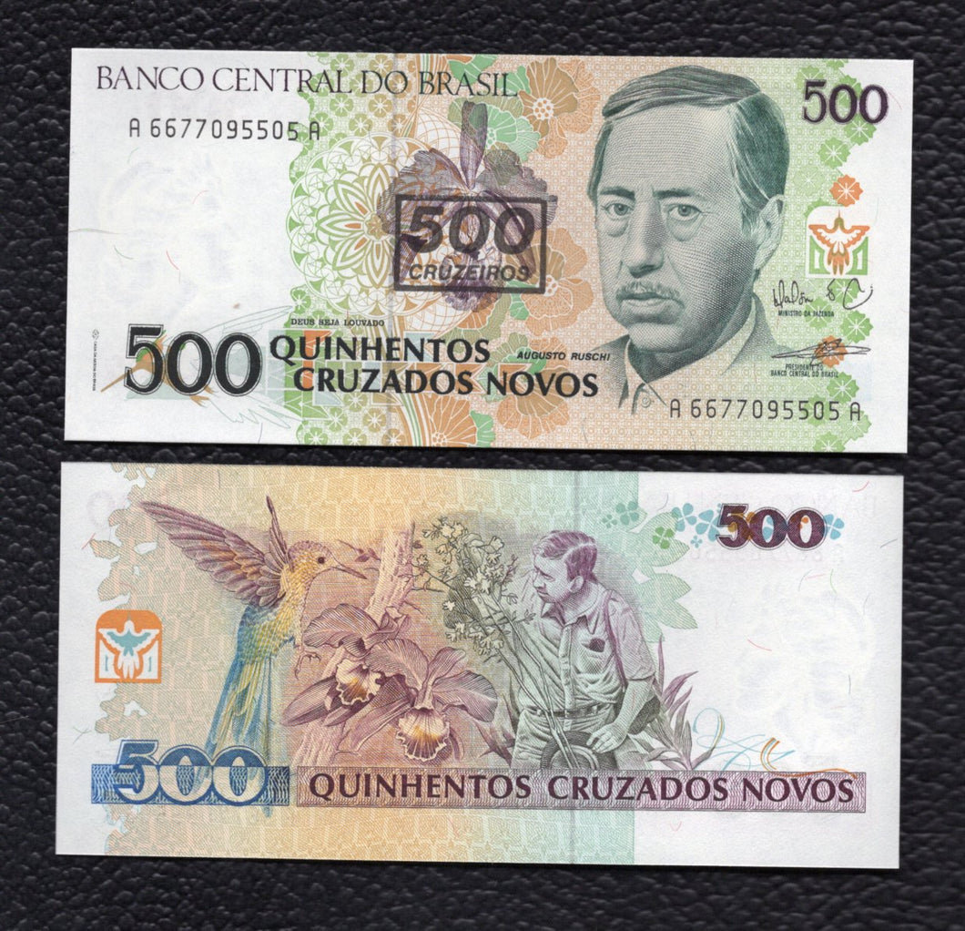 Brazil P-226b ND(1990) 500 Cruzeiros on 500 Cruzadso Novos - Crisp Uncirculated