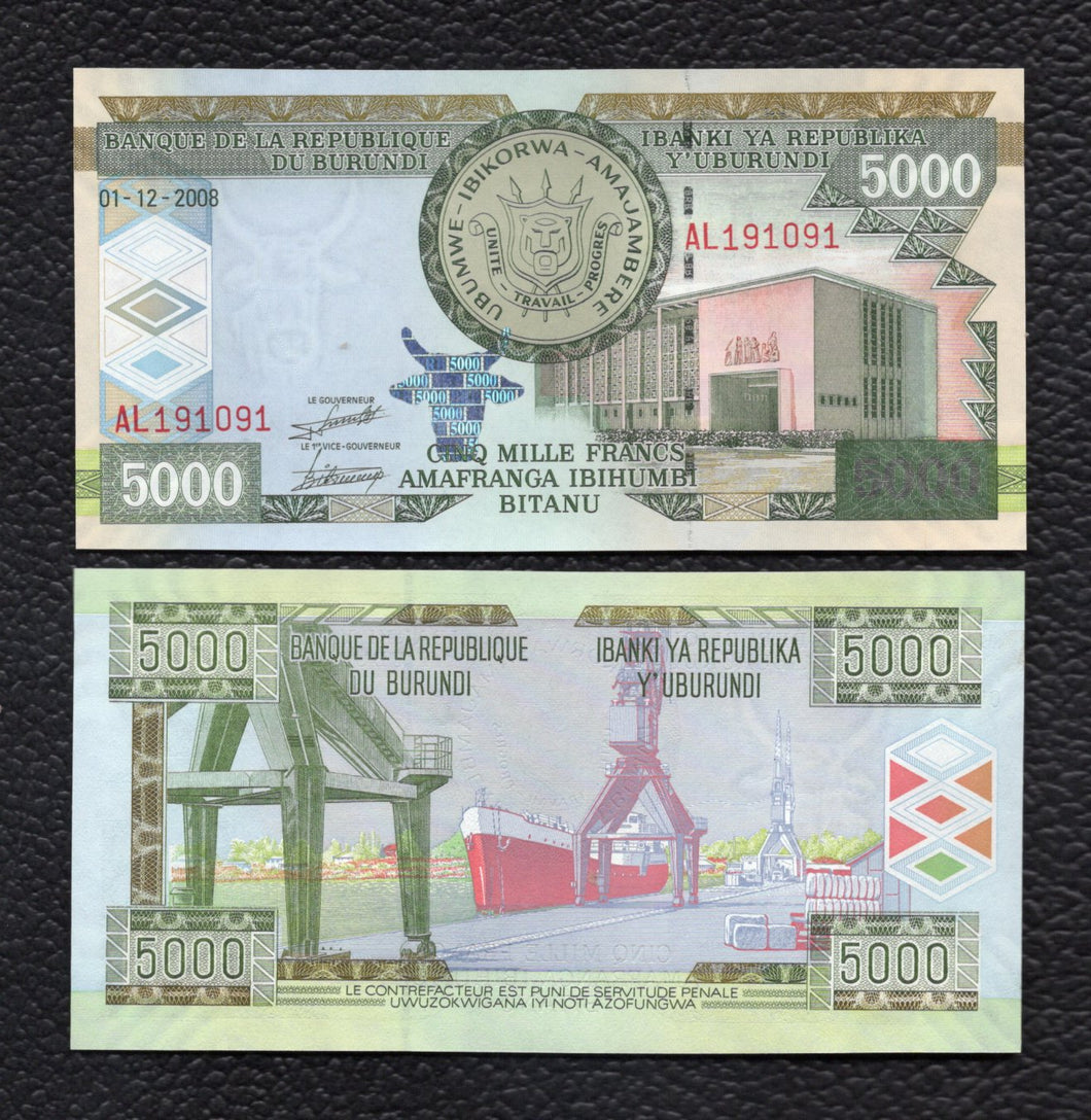 Burundi P-48a 1.12.2008 5000 Francs - Crisp Uncirculated
