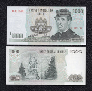 Chile P-154g 2008 1000 Pesos - Crisp Uncirculated