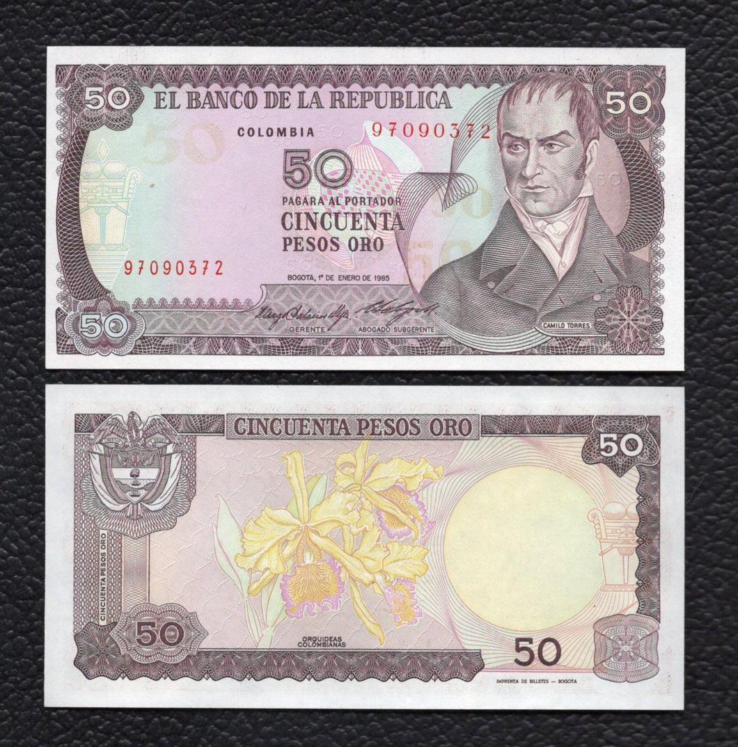 Colombia P-425a 1.1.1985 50 Pesos Oro - Crisp Uncirculated