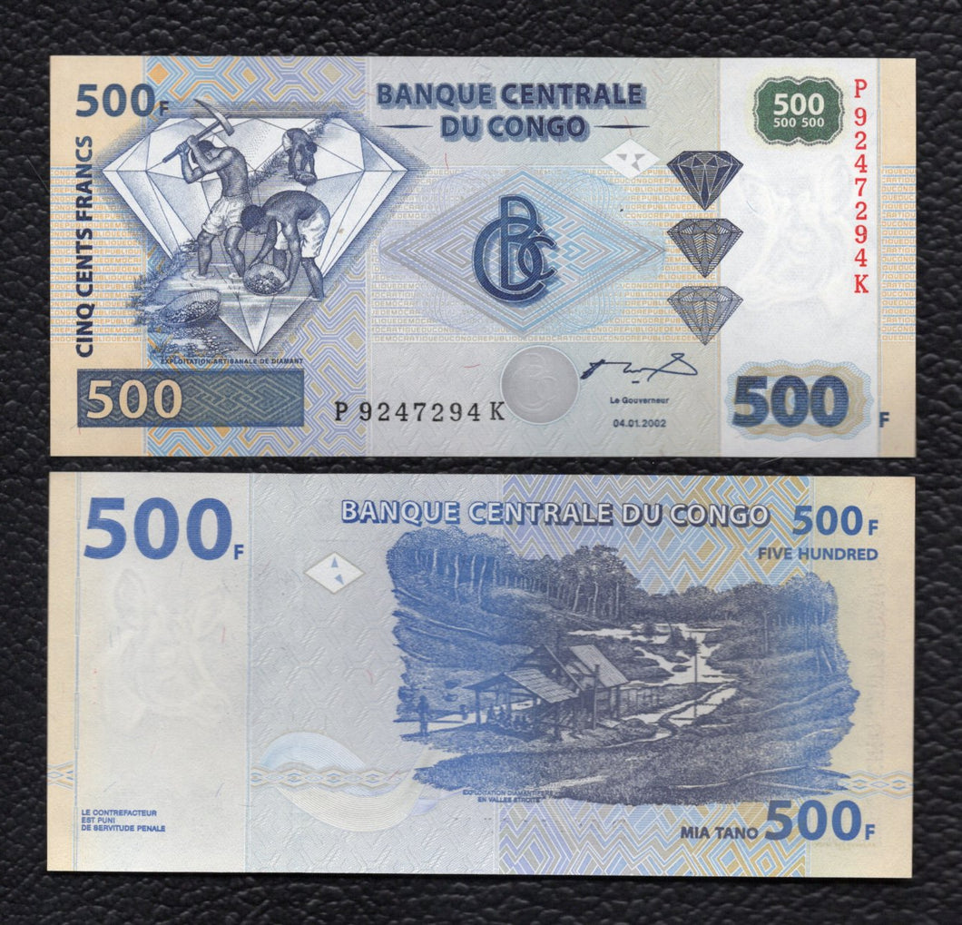 Congo Democratic Republic P-96  4.1.2002(2004)  500 Francs - Crisp Uncirculaated