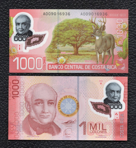 Costa Rica P-274  2.9.2009 Polymer Plastic  1000 Col;ones - Crisp Uncirculated