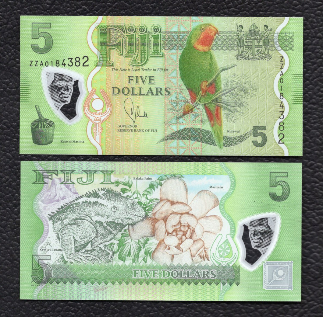 Fiji P-115r  (Replacement Note) 2013 Polymer Plastic 5 Dollars - Crisp Uncirculated