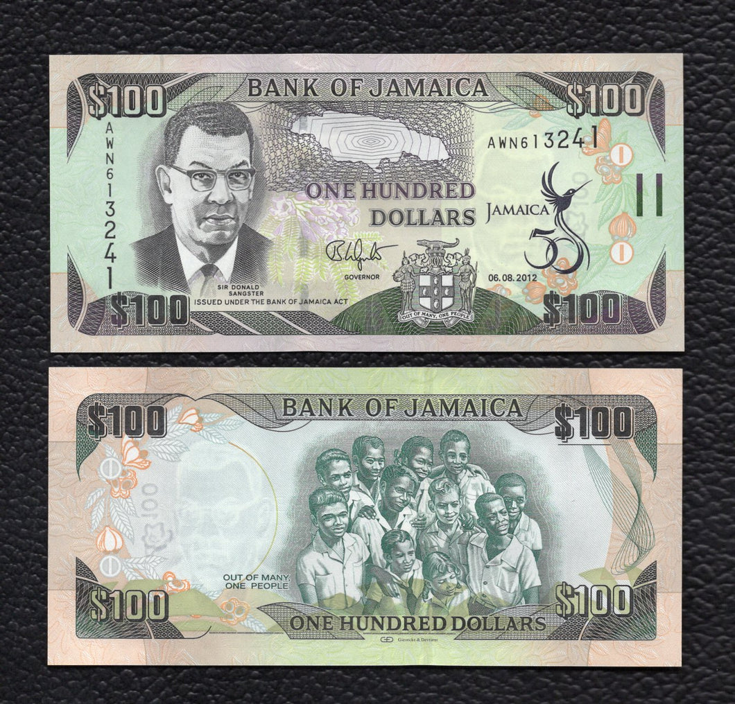 Jamaica P-90 6.8.2012   100 Dollars - Crisp Uncirculated