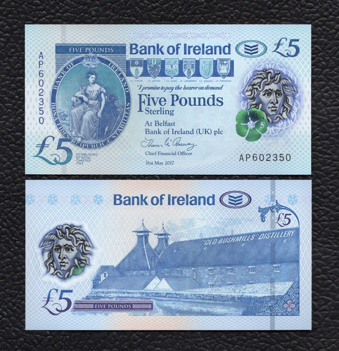 Northern Ireland P-NEW 2017(2019) Polymer Plastic 5 Pounds - Crisp Uncirculated