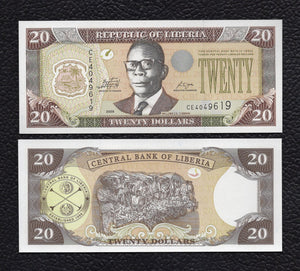 Liberia P-28e  2009 20 Dollars - Crisp Uncirculated