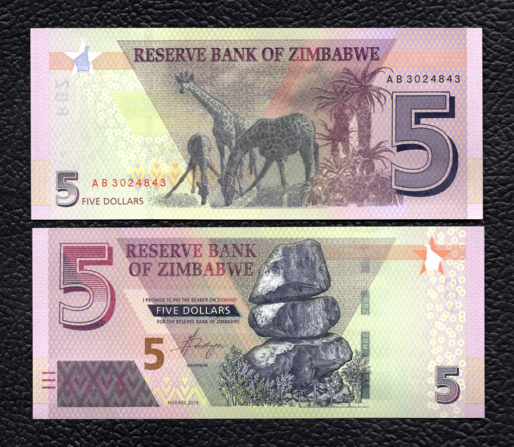 Zimbabwe  P-NEW  2019  5 Dollars - Crisp Uncirculated