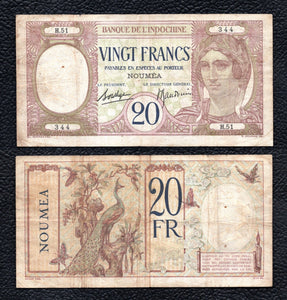 New Caledonia P-37b  nd(1929)  20 Francs - Grades Fine w/Tiny hole in wmk