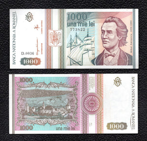 Romania P-101A Sept. 1991  1000  Lei - Crisp Almost Uncirculated