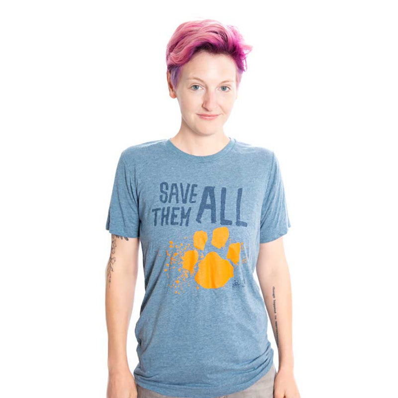 "T-Shirt, Tee, Adopt Change ""Save Them All"" T shirt blue adult"
