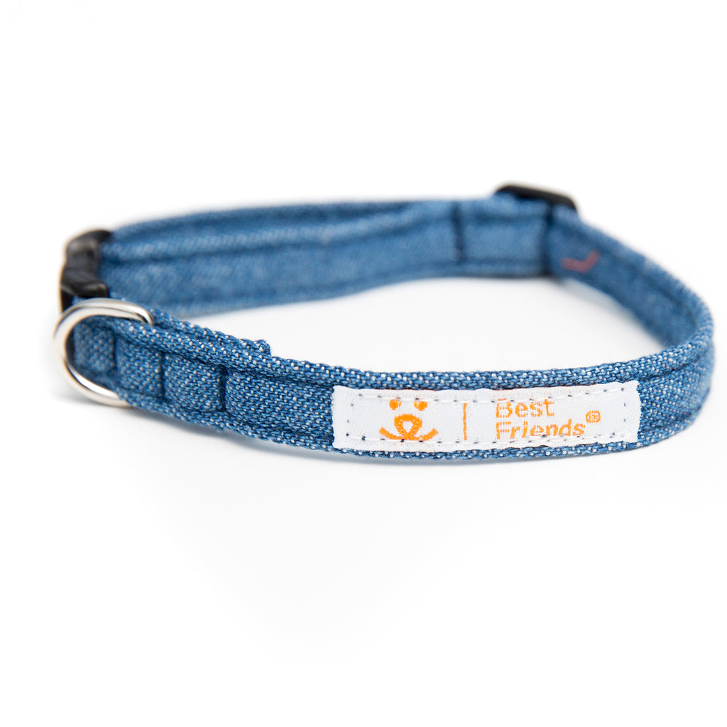 denim blue tiny collar with Best Friends logo with orange text on white tag