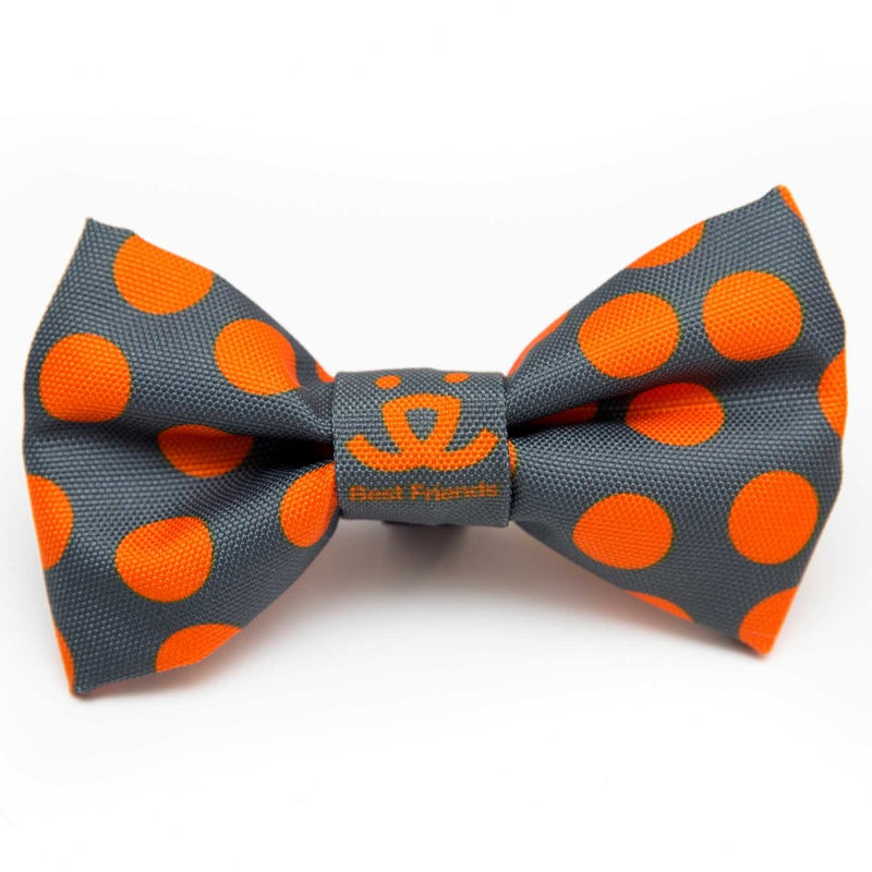 Bow Tie, Gray with Orange Dots