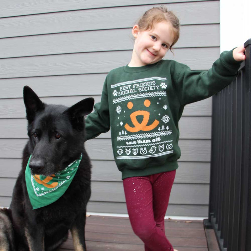 Vintage Holiday Sweatshirt & Bandana Set - Youth