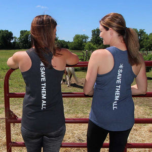 Call To Action Tank, Womens, Dark Gray Save Them All, Blue Save Them All
