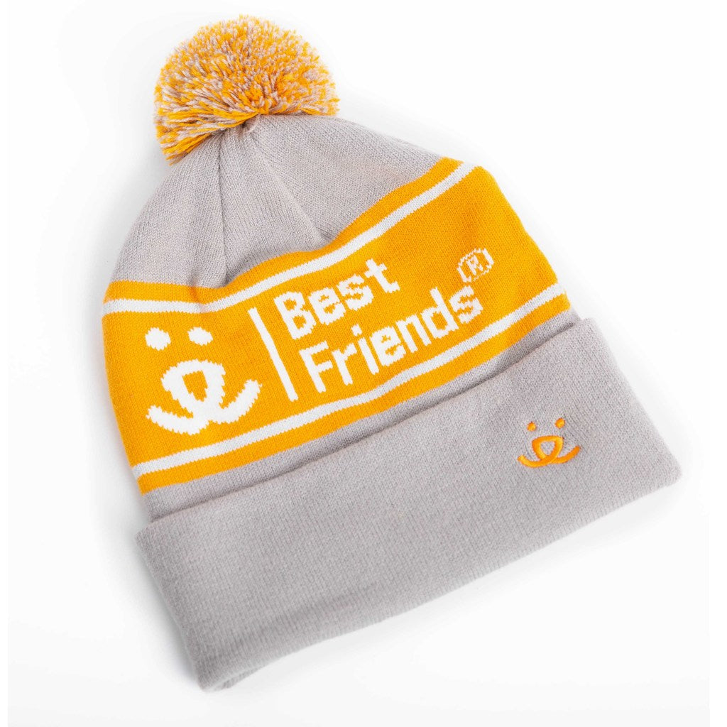 Pom Beanie, Gray & Orange