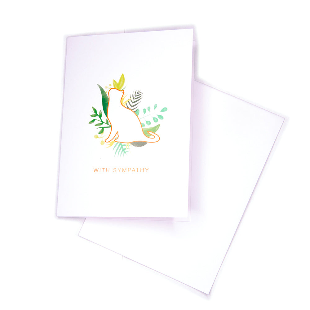 Sympathy Card, Greenery Cat