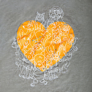 t-shirt, tee, Women's Green Muscle Tee with orange heart and 1984 Gang's all Here Design