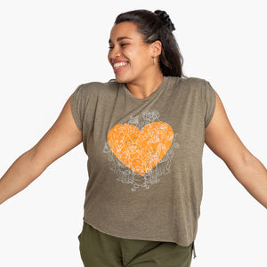 female in heather green with animal logo and orange heart