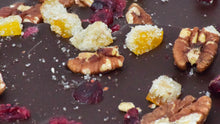 Load image into Gallery viewer, Dark Chocolate Bark with Pecans, Cranberries & Candied Orange Peel (4 oz.)