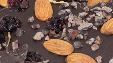 Dark Chocolate Bark with Almonds, Cherries & Nibs