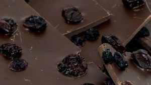 Dark Chocolate Bark with Cherries & Blueberries