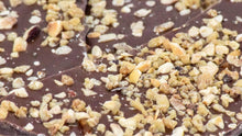 Load image into Gallery viewer, Milk Chocolate Bark with Hazelnut Croquant & Vanilla Salt (4 oz.)