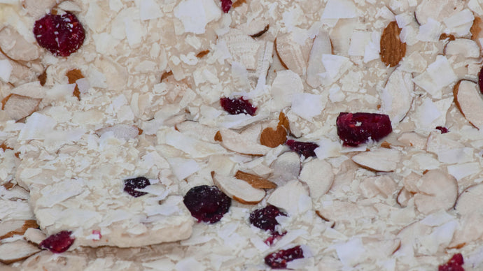 White Chocolate Bark with Almonds, Cranberries & Coconut
