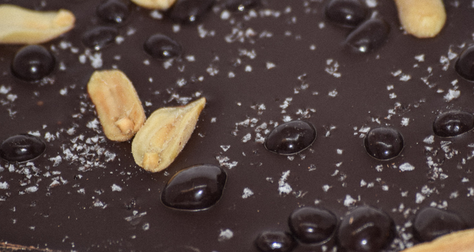 Dark Chocolate Bark with Peanuts, Sea Salt & Chocolate-Covered Cocoa Nibs