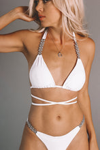 Load image into Gallery viewer, SANTORINI Crystal Encrusted Bikini In White