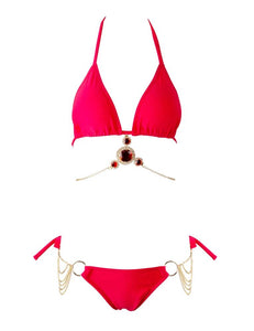 TAZANNA Crystal & Chain Bikini Set Red
