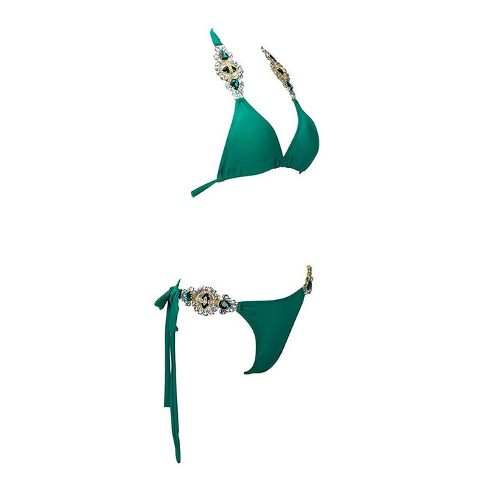 Love&Lemonade  Green Colorful Crystal Jewelry Strap Two-Pieces Beach Bikini LM1058 Autumn/Winter