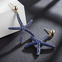 Load image into Gallery viewer, Blue Cubic Zirconia Starfish Stud Earrings