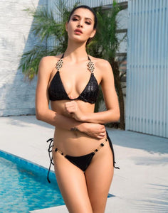 ISA Black Rhinestone & Sequin Bikini Set