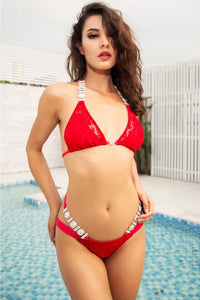 AMORA Lace & Crystal Bikini Set Red